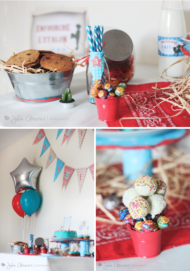 décoration bleu et rouge avec ballons et cake pop