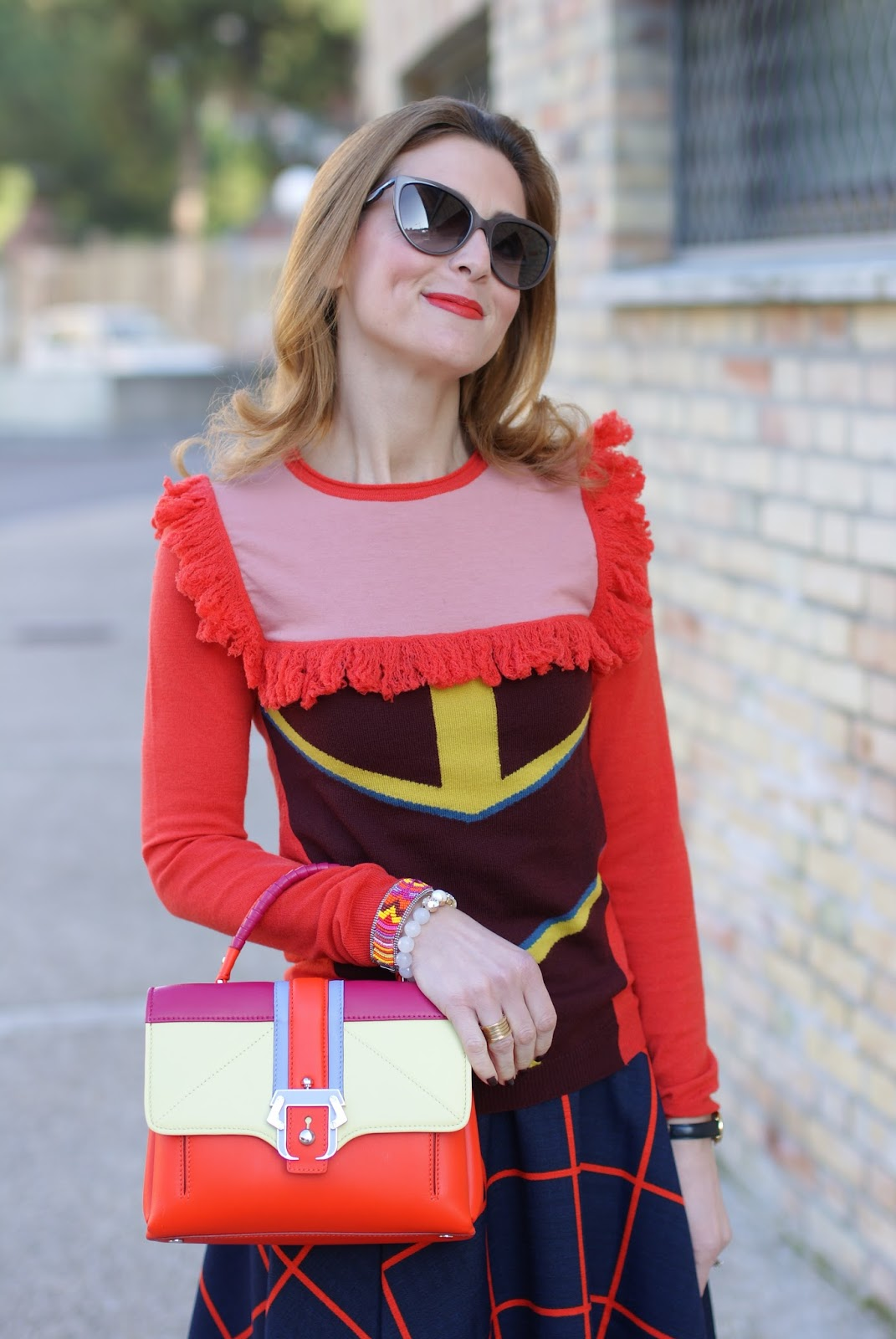 Color block edgy outfit with Choies plaid midi skirt and Paula Cademartori Petite Faye bag on Fashion and Cookies fashion blog, fashion blogger style