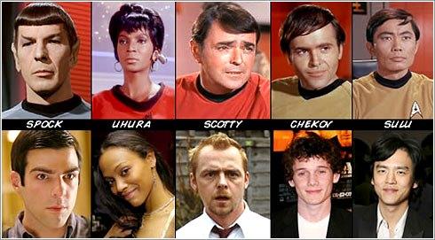 Personajes de la Película Star Trek o Viaje a las estrellas y en su vida cotidiana