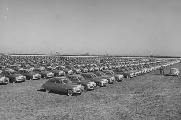 New 1950 Packards waiting to be delivered.