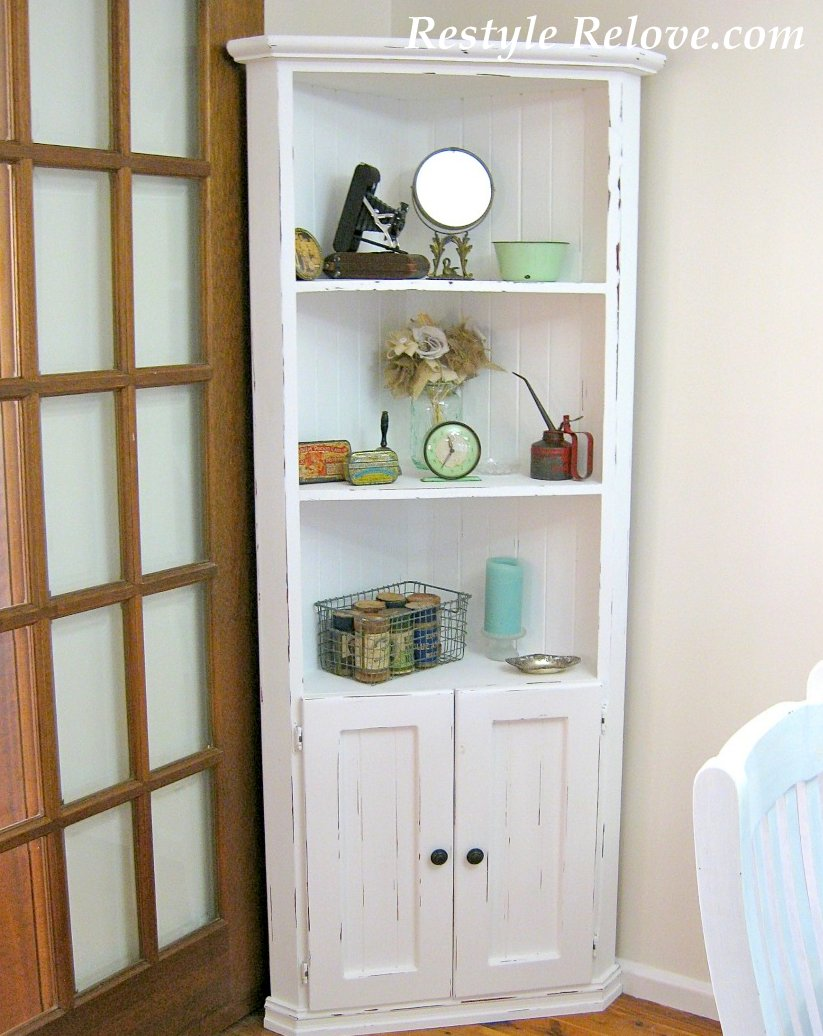 White Farmhouse Corner Cabinet