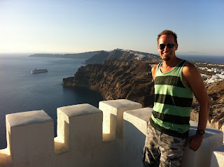 Noah overlooking the northern arm of Santorini from Santo Winery.