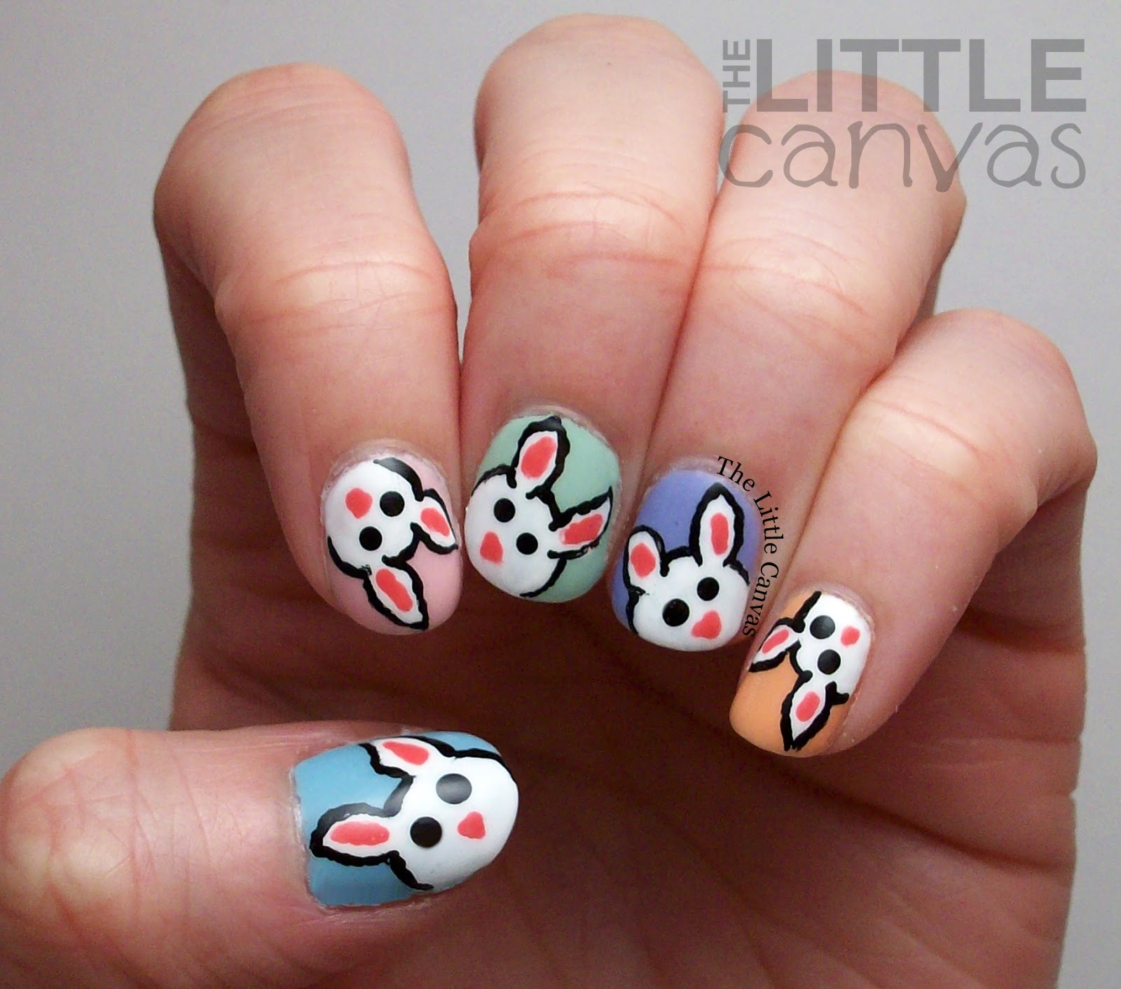 Easter Bunny Nail Art The Little Canvas