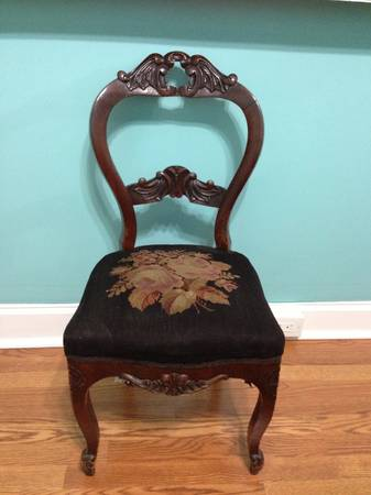 Victorian Balloon Back Chair With Embroidered Seat Cushion (Pittsburgh)