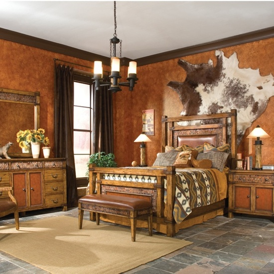 Rawhide company blog cowhide rugs in interior design and for Cow bedroom ideas