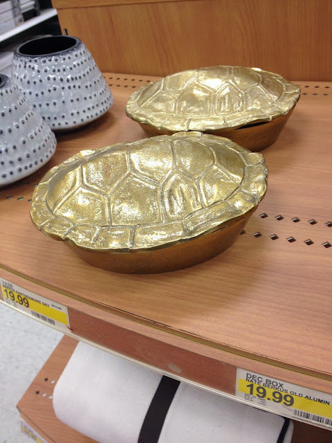 Nate Berkus gold turtle shell decor box