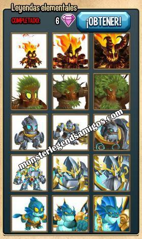 imagen de la coleccion leyendas elementales de monster legends