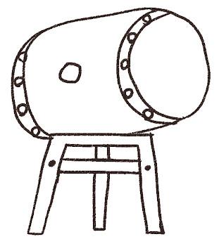太鼓のイラスト(お祭り) 線画
