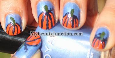 Pumpkin nail art for Hallowe'en manicure with OPI Chop sticking to my story and Zoya Jo for Halloween nail art challenge