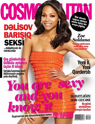 Zoe Saldana Photos from Cosmopolitan Azerbaijan Magazine Cover January 2014 HQ Scans