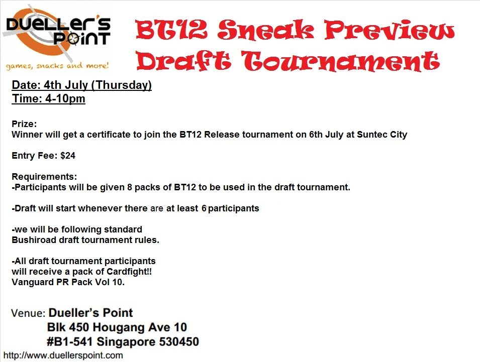 BT12 Draft Tournament @ dueller's Point 4th July BT12+Draft+Tournament