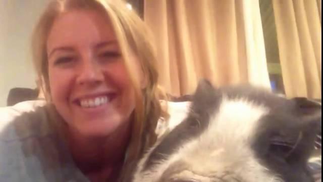Un cochon n'aime pas les câlins de cette belle fille, selfie avec un cochon