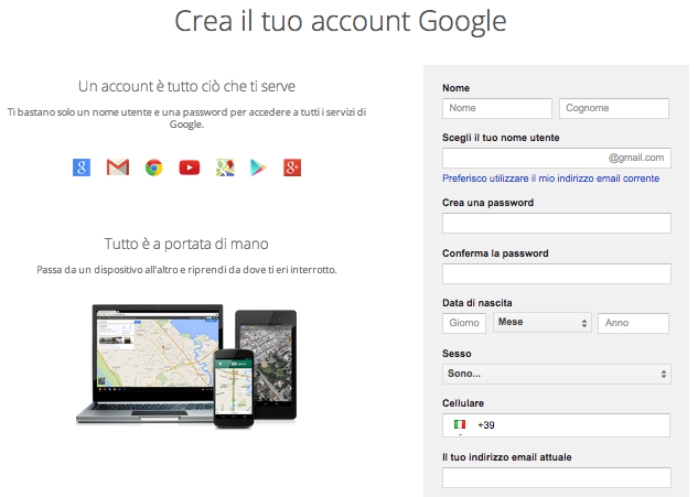 Creazione account Google