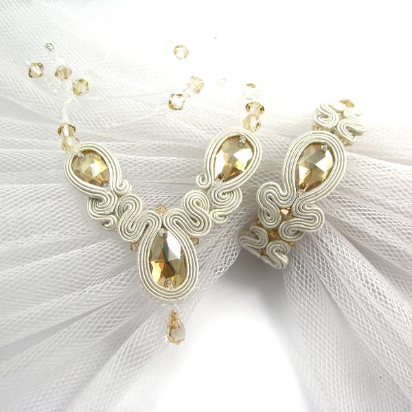 Naszyjnik ślubny i bransoletka sutasz ivory