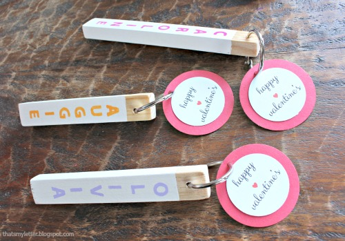 wood key fob valentines tags