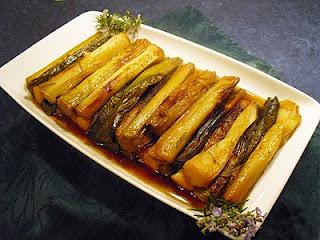 Poireaux au four sauce soja