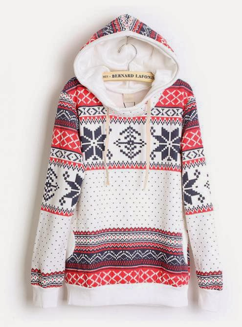 Hooded Geometric White Sweatshirts fashion for fall
