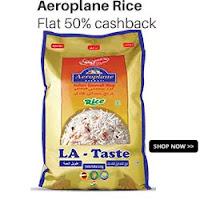 Paytm : Aeroplane & Palm Tree Basmati Rice Extra 50% Cashback : Buytoearn