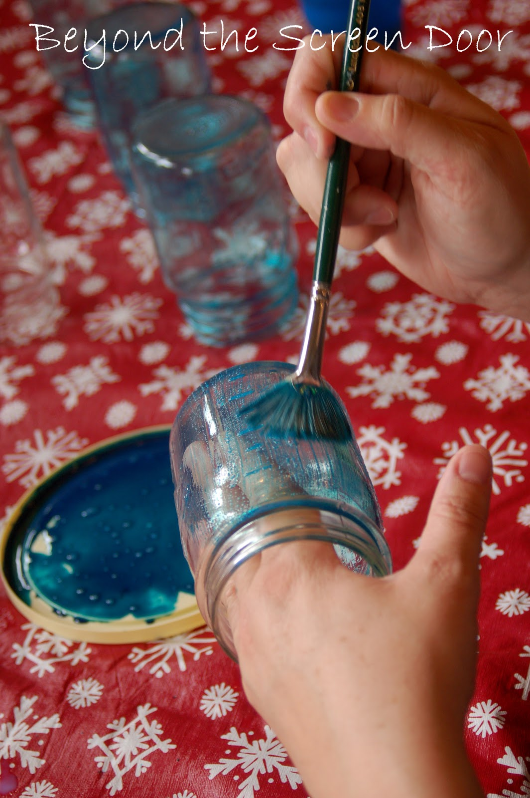 How to paint your own turquoise canning jars sonya for Pebeo vitrea 160 glass paint instructions