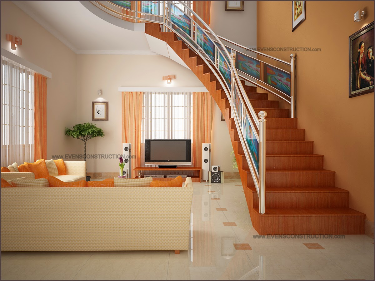 Living area and stair area living room interiors pdf for House interior design kerala photos