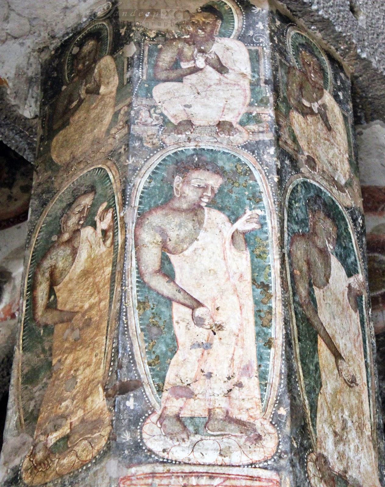 Buddhist images on the octagonal pillars