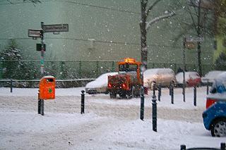 Rue berlinoise dans la neige