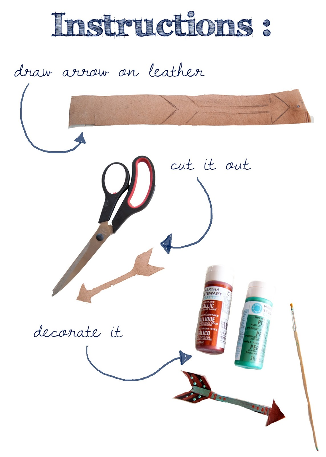 Instructions for how to make a leather arrow mobile