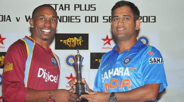 Dwayne-Bravo-MS-Dhoni-India-vs-West-Indies-ODI-Series-2013