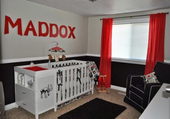 Dormitorios de beb en blanco rojo y negro dormitorios for Cuarto negro con gris