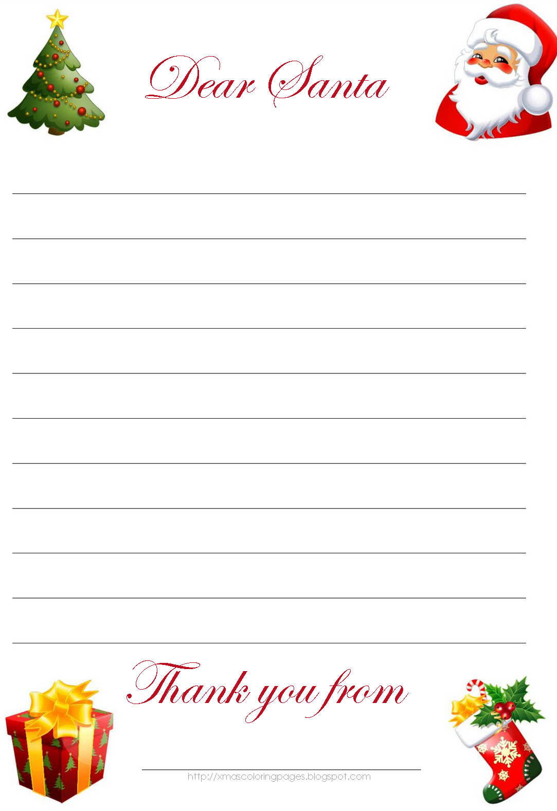 HERE IS ANOTHER FREE TEMPLATE SO YOU CAN WRITE SANTA LETTER.