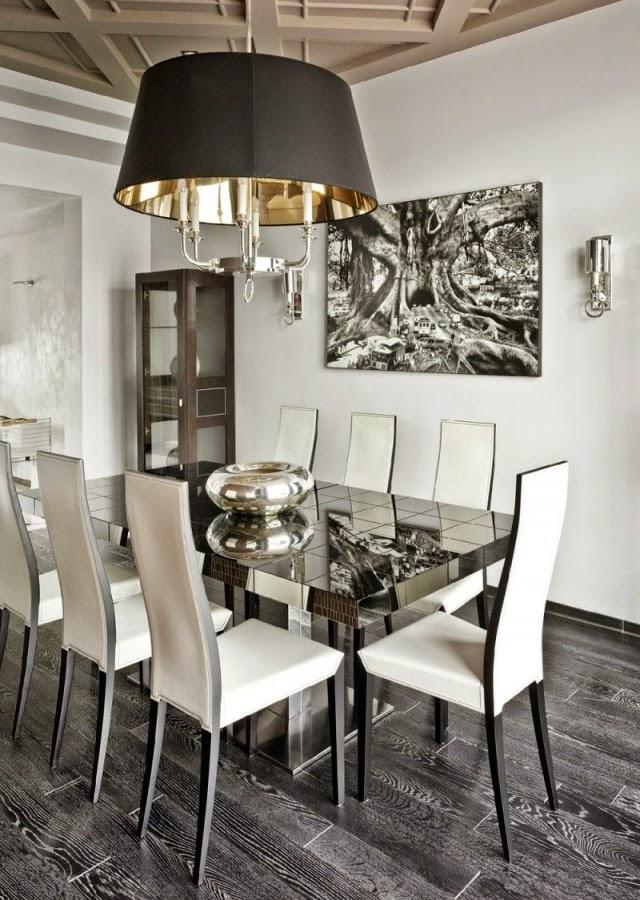 Comedores modernos en gris y blanco colores en casa for Comedor gris y blanco