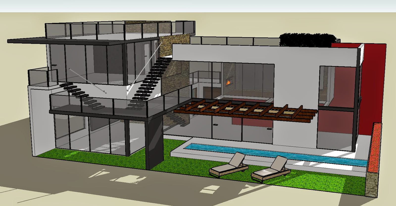 Modern house plans sketchup for Modern house sketchup