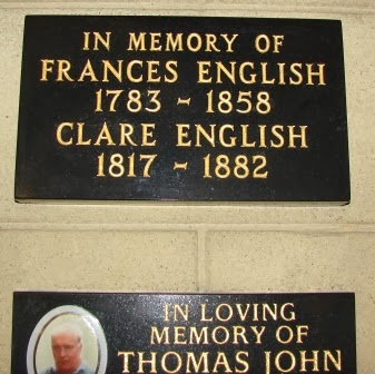Example of private memorial plaque in Chapel at St. Mary's Roman Catholic Cemetery in London.