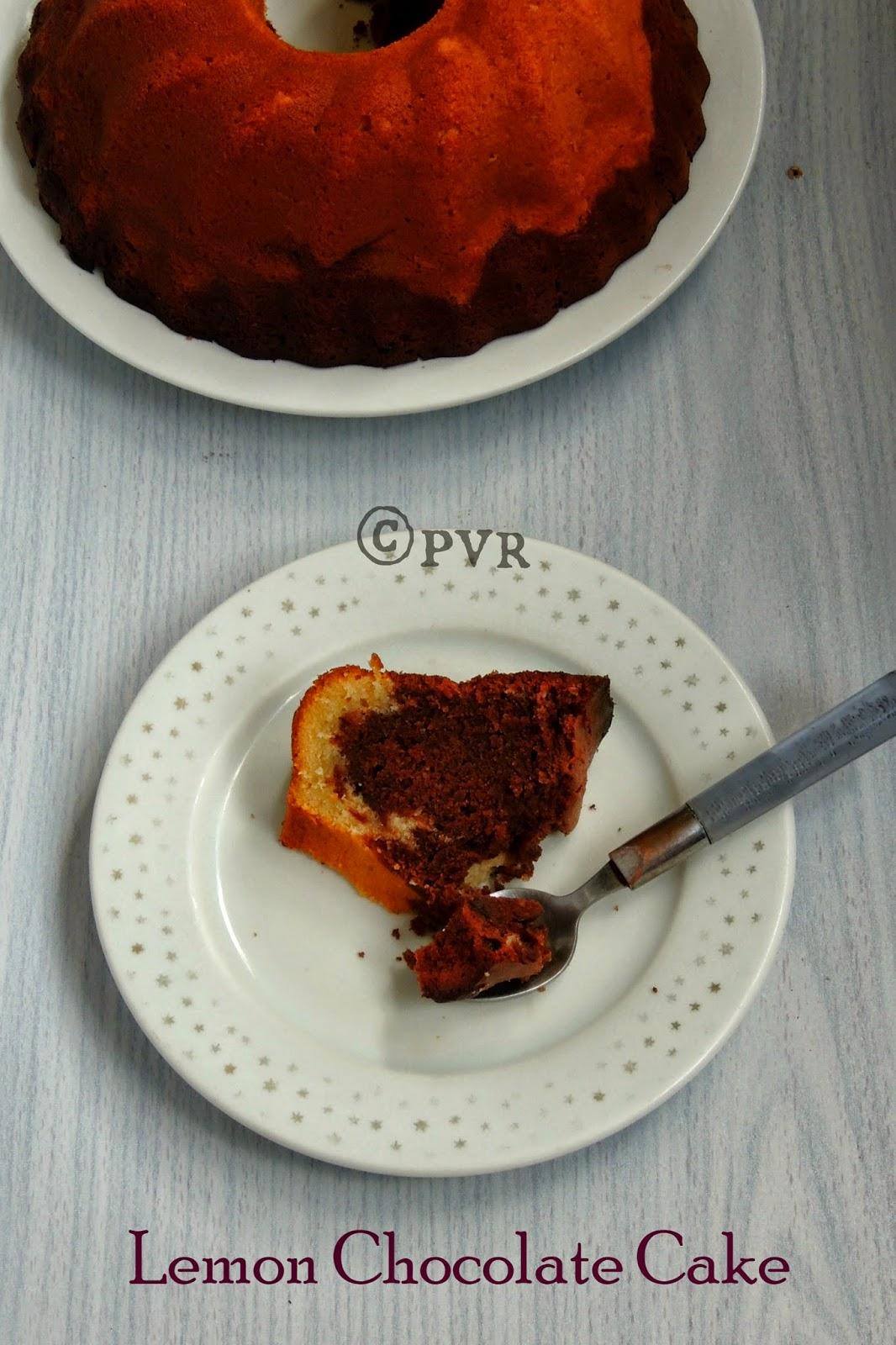 Lemon chocolate cake, double layered cake