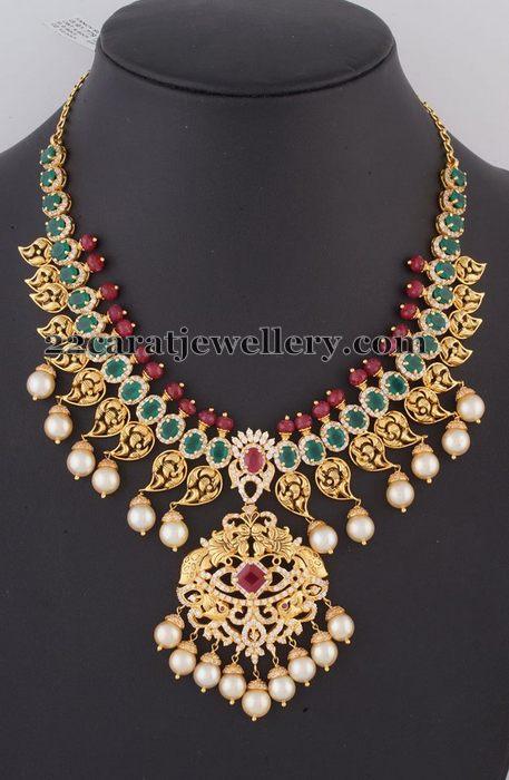 Mango Necklace with Large Emeralds