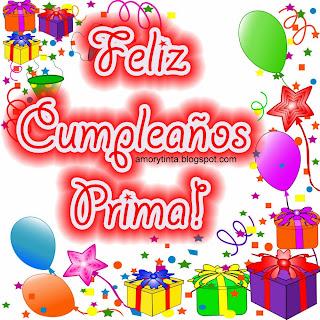 tarjeta de cumpleaños con regalos y globos para festejar a una prima