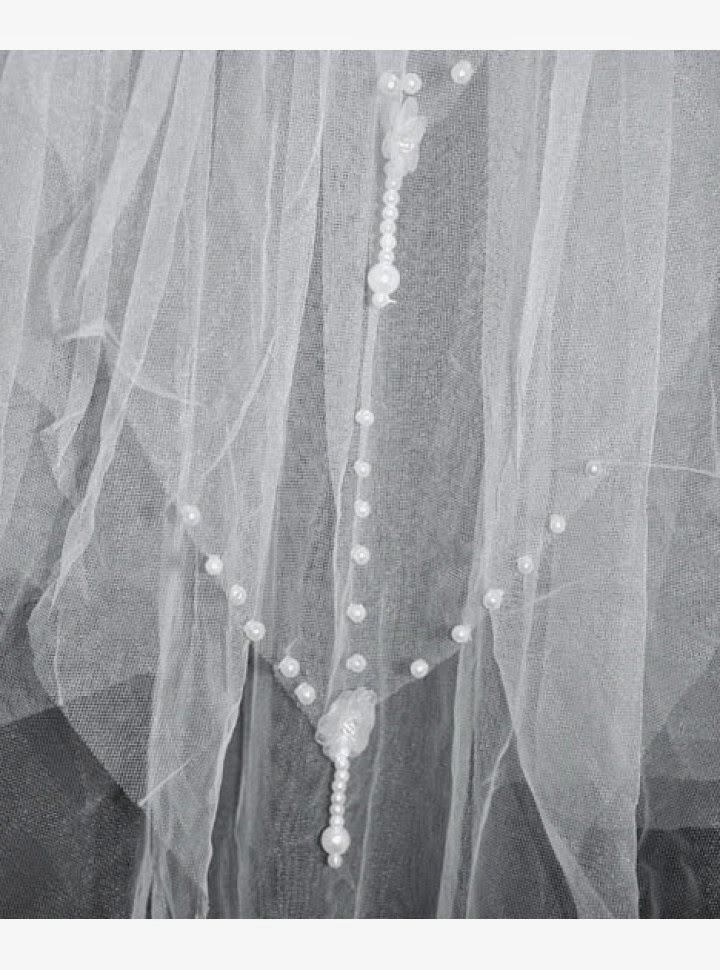 Velo para Vestido de Novia con Capas Multiples y Esferas Blancas en Bordes y Puntas