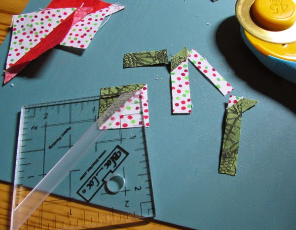 making mini half-square triangle ornaments