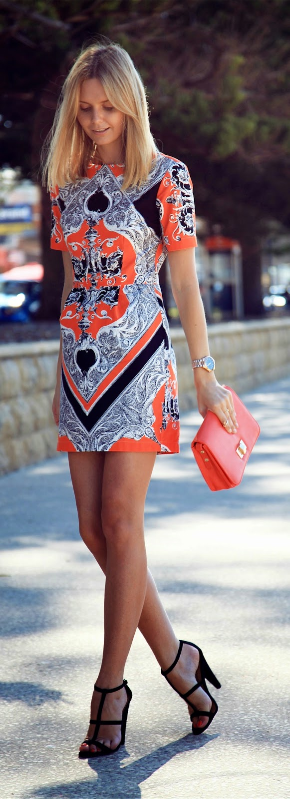 Cocktail Printed Mini Dress with Black Heels | Chic Street Outfits