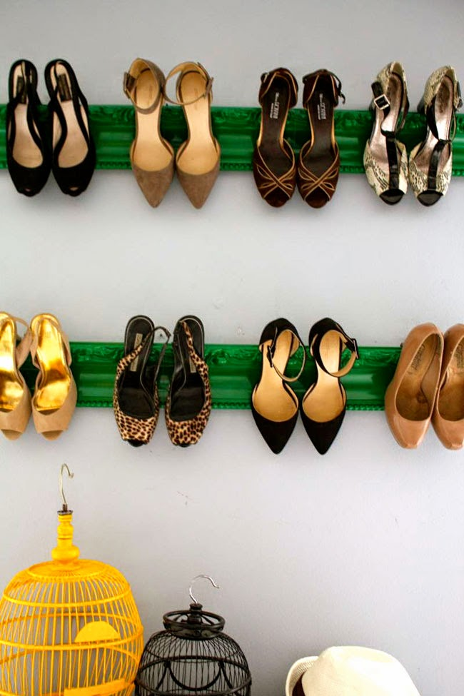 homemade shoe rack hanging inspiration