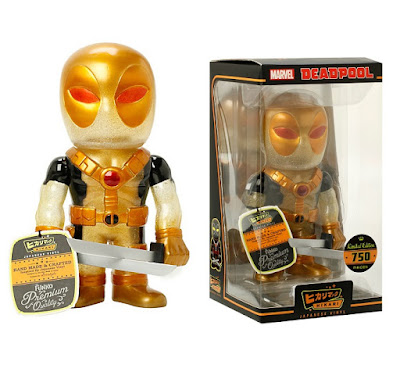 "Hot Topic Exclusive ""Gold Glitter"" Deadpool Hikari Sofubi Marvel Vinyl Figure by Funko"