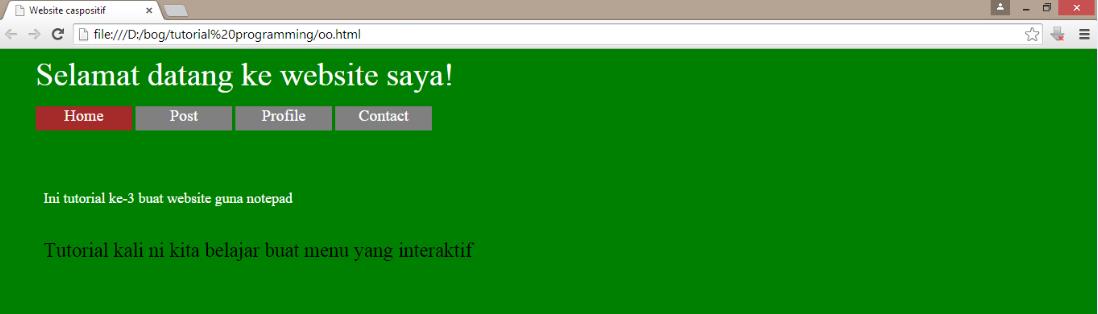 Tutorial 3 Buat laman web guna notepad