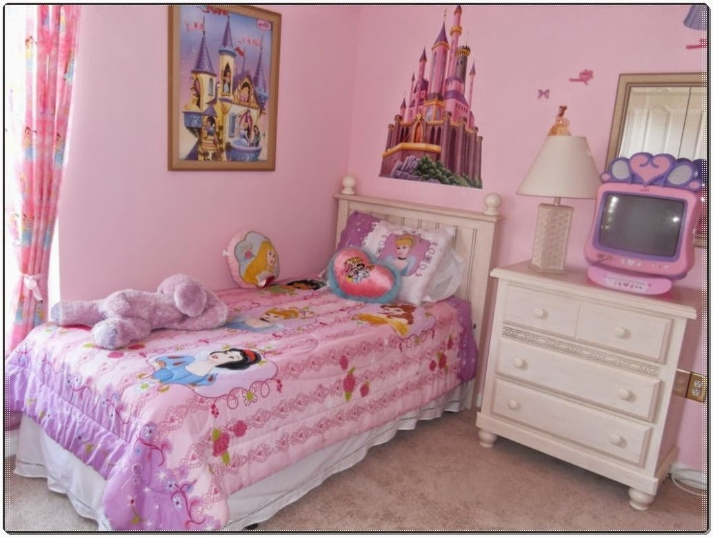 Kids bedroom the best idea of little girl room with princess wallpaper theme and polka dot - Kids bedroom ...