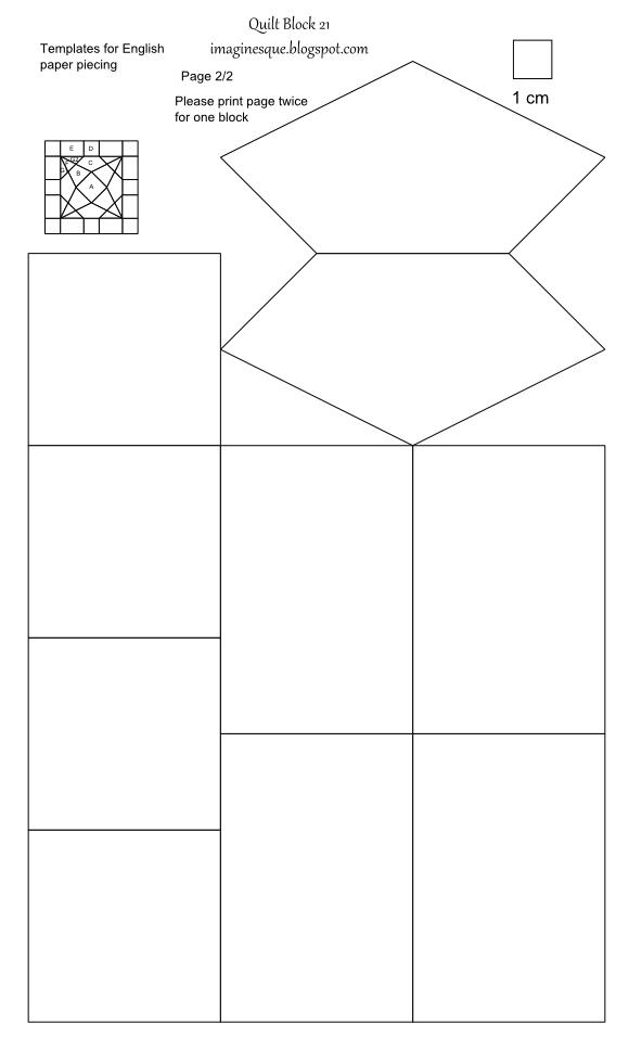 Imaginesque  Quilt Block 21  Templates For Hand Piecing