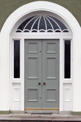 Front door in Farrow and Ball Blue Gray