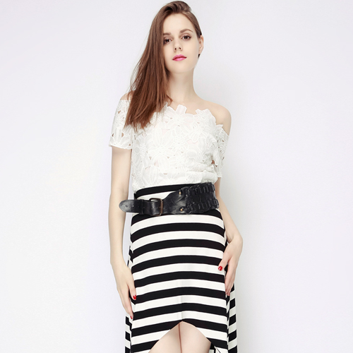 Striped Mullet Maxi Skirt