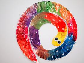 liquid watercolor snakes- easy preschool art idea
