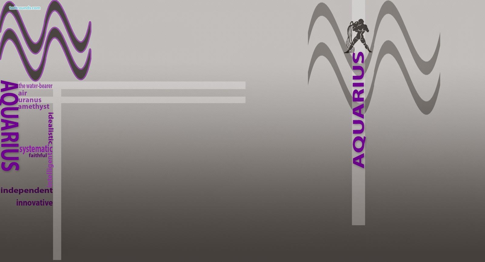 Aquarius zodiac sign, gray background