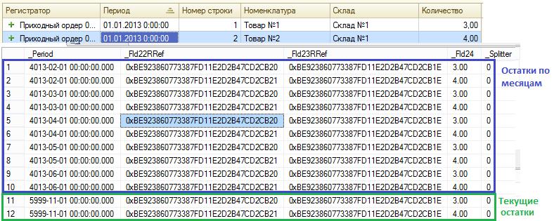 1с остатки регистра накопления на дату