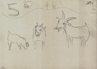 Storyboard scene 5: goats eat grass on hill on far side.